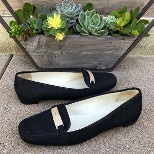 $895~PRADA~Black Suede LOGO BAR Loafer~Flats~7/7.5